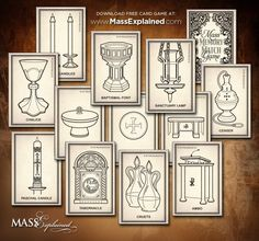 http://www.massexplained.com/kids-mass-crafts-3/ There are several objects, furnishings and vessels that are exclusively used at Mass. Since they are seen infrequently and often at a distance, many may be unfamiliar to children. This free downloadable art project focuses on Mass vocabulary words so your little ones can recognize and name these objects.