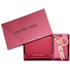 Michael Kors Giftables MD Carry All Box Set Cherry in red, Small... ($115) ❤ liked on Polyvore featuring bags, wallets, red, michael michael kors wallet, red bag, logo bags, red leather wallet and sheer bags