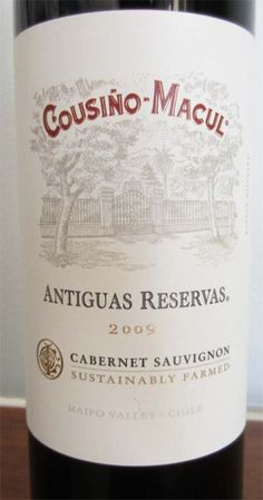 2009 Cousino Macul Antiguas Reservas Cabernet Sauvignon | 2CookinMamas Earthy aromas & dark berry flavors with a hint of vanilla. Perfect with steaks. $14.99 Rating: 4.5/5