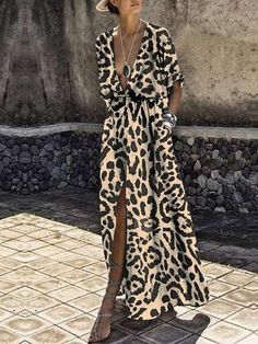Description Product Name Sexy deep v collar leopard printed maxi dress Brand Name Ininruby SKU Gender Women Season Summer Type Fashion Occasion Party/Wedding Pattern Floral printed Please Note:All dimensions are measured manually with a deviation of 1 to Elegant Maxi Dress, Sexy Maxi Dress, Chiffon Maxi Dress, Maxi Dress With Sleeves, Lovely Dresses, Maxi Dresses, Vestido Casual, Types Of Fashion Styles, Dress Brands