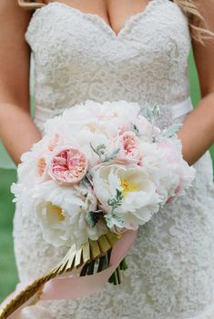 Blush and White Peony and Rose Bouquet Corsage Wedding, Wedding Bouquets, Wedding Dresses, Mint Gold Weddings, Floral Wedding, Wedding Flowers, Romantic Wedding Inspiration, White Peonies, Rose Bouquet