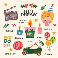 Happy Holidays everyone ❤ I hope you have a lovely time and make a lot of happy memories 🎄💕 illustrations I made for K-pop group NCT DREAM… Printable Stickers, Cute Stickers, Overlays, Memo Notepad, Bullet Journal Ideas Pages, Good Notes, Aesthetic Stickers, Pencil Illustration, Sticker Design