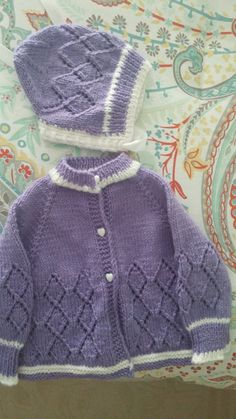 Hand knit sweater and hat for baby girl size by BabyknitTreasures