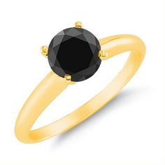 1 CT Black Diamond Solitaire Ring 14K Yellow Gold In Size 10 (Available In Sizes 5 - 10)
