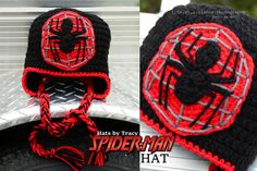 Anyone can be a Super Hero with the ever popular Spider Man Crochet Hat! Made especially to fit your child (or adult....lets admit we all have a little super hero in us). This web-slinger is patiently made with yarn. No paint on this hat! And they are made to last. Order yours today.  All hats come in all sizes. Let me know if you have any special instructions. Check out my Facebook page for many more styles and hat selections. https://www.facebook.com/creativehatsbytracy Or type in Hats By…