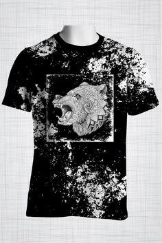 #plussizemensclothing Plus Size Men's Clothing Black Tribal Bear t-shirt