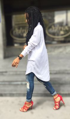Tips on how to style a long shirt. #denim #braids #chic #minimalism  #itanndy #sandals red heels