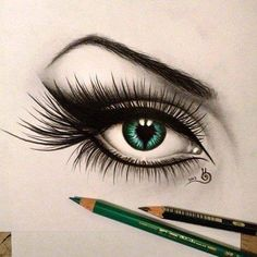 The tiniest detail can make a drawing stand out. Just bad ass! Hyperrealism hyperrealism hyper realism realist sketch illustration of an eye emerald green iris
