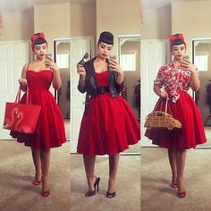 Retro Fashion Today I styled a dress 3 different ways and for those of you wondering, I picked the ❤ (tap for details) - Mode Rockabilly, Rockabilly Outfits, Rockabilly Fashion, 1950s Fashion, Vintage Fashion, Lolita Fashion, Pin Up Outfits, Cute Outfits, Fashion Outfits