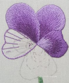 Working direction lines into silk shadingflower embroidery three petals complete - The pansy is starting to blossom! Join me as a show you the beginnings of the silk shaded pansy, and we discuss a couple of the problems that have come up!hand embroidery s Brazilian Embroidery Stitches, Learn Embroidery, Hand Embroidery Stitches, Hand Embroidery Designs, Vintage Embroidery, Embroidery Techniques, Embroidery Thread, Cross Stitch Embroidery, Embroidery Supplies