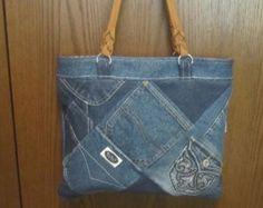Denim Tote Bag 14 x 12 Fully Lined 6 inside by ripnrollrugs