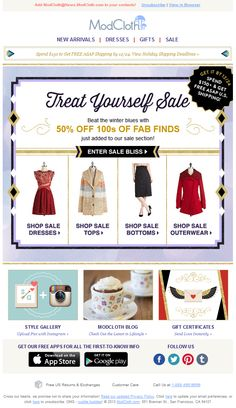 "Modcloth - holiday clearance 50% off ""fab finds"" + FS on $150 for xmas delivery"