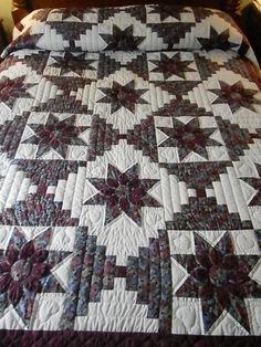 Lancaster County Amish Handmade Full / Queen Dahlia Log Cabin -#303
