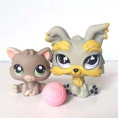 Littlest Pet Shop RARE Gray Kitten 1607 Green Eyes Glass Yorkie 886 Cat Dog LPS #Hasbro