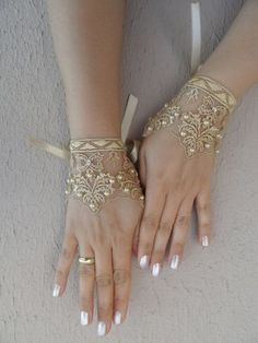 caramel lace glove Wedding gloves bridal gloves fingerless lace gloves beaded pearl and rhinestone free ship on Etsy Bridal Accessories, Wedding Jewelry, Wedding Gloves, Lace Gloves, Lace Cuffs, Gold Gloves, Dress Gloves, Fingerless Gloves, Hand Jewelry