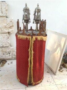 Antique 19th Judaica Tunisia Djerba Museum Torah scroll case Rimonim (m200)