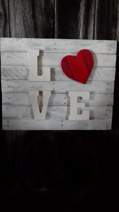 Reclaimed wood, pallet wood, Valentine's Day, wood sign, wall hanging, home decor, home and living, LOVE, by BoxedCreativity on Etsy