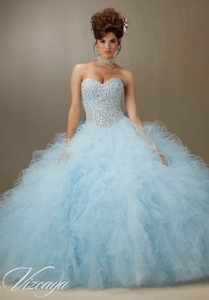 Quinceanera Dress Vizcaya Morilee 89077 Pearled beaded bodice on a ruffled tulle…