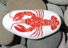 Hand Painted Cape Cod Beach Stone/Whimsical Lobster/Unique Paperweight/Coastal Decor/Decorative