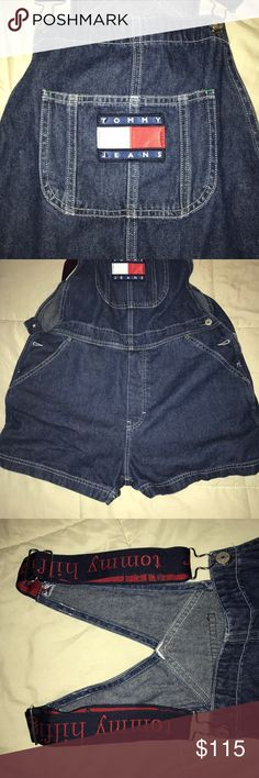 Tommy Hilfiger Overall denim shorts Like new Tommy Hilfiger denim overall shorts. Shorts are loose and look really cute with a fitted crop top underneath Tommy Hilfiger Jeans Overalls