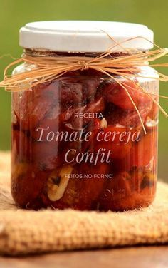 Baked Cherry Tomato Confit - Recipe for Baked Cherry Tomatoes and . - Baked Cherry Tomato Confit – Recipe for baked cherry tomatoes confit in olive oil, perfect recipe - Easy Cooking, Cooking Time, Cooking Recipes, Tomato Confit Recipe, Healthy Recepies, Antipasto, Chutney, Food Network Recipes, Food And Drink