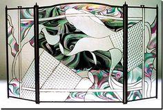 Igneous design.  #stainedglass #fireplace #screen #colorful #artsy #beautiful #custom #homedecor #decor #contemporary