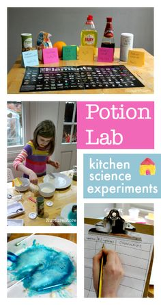 Potion lab :: kitchen science experiments for kids, easy chemistry experiments for children, homeschool science activities Kindergarten Science, Teaching Science, Science Education, Science Activities, Science Projects, Physical Science, Physical Activities For Kids, Enrichment Activities, Science Ideas
