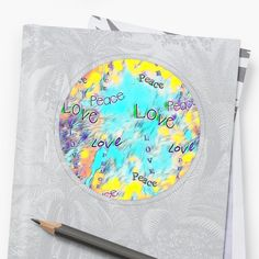 Vision Peace And Love ' Sticker by Roanemermaid Love Stickers, Laptop Stickers, Decorative Stickers, 2020 Vision, Transparent Stickers, Peace And Love, Beautiful Flowers, Beach Mat, Outdoor Blanket