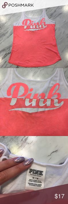 Victoria's Secret Pink Scoop Back Tank VS PINK color block tank in great condition. PINK Victoria's Secret Tops Tank Tops