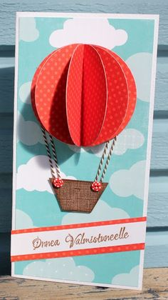 red hot air balloon, card making ideas, blue skies, blue wooden background, red and white strand Pop Up Cards, Cute Cards, Ideias Diy, Card Making Inspiration, Hot Air Balloon, Red Balloon, Creative Cards, Kids Cards, Scrapbook Cards