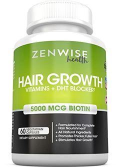 Hair Growth Vitamins Supplement  5000mcg of Biotin  DHT Blocker for Hair Loss and Baldness  Contains Vitamins That Stimulate Hair Growth  Shine for Men and Women  60 Vegetarian Pills -- You can get more details by clicking on the image.