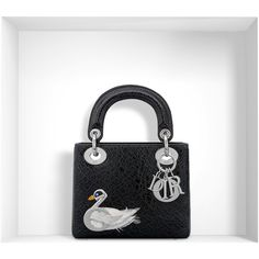 """MINI """"LADY DIOR"""" BAG IN BLACK CERAMIC-EFFECT DEERSKIN ❤ liked on Polyvore featuring bags, handbags, deerskin bag, mini bag, mini purses, deerskin handbag and miniature purse"""