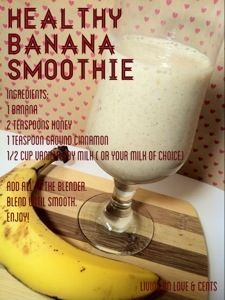 Today I enjoyed a delicious banana smoothie that I have to share. This one is sweet and great for you. I found one similar and altered it use what I Healthy & Sweet Banana Smoothie Recipe - Healthy & Sweet Banana Smoothie Recipe - Living on Love and Cents Smoothies Banane, Smoothie Fruit, Smoothie Drinks, Healthy Smoothies, Fruit Juice, Healthy Drinks, Homemade Smoothies, Vegetable Smoothies, Yogurt Smoothies
