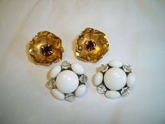 Vintage 1950s Milk Glass and Floral Rhinestone Earrings Lot 2 Pairs Clip Back by BlackRain4, $24.99