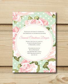 Vintage Rose Christening Invite by PrettyBabyInvites on Etsy, $16.00