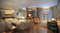Os apartamentos de 88 m² têm dois ou três quartos, sendo uma suíte com closet. Os de dois quartos têm a opção com living ampliado, como na foto.
