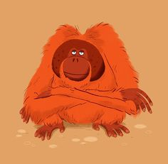 orangutan by Chris Chatterton Cartoon Monkey Drawing, Character Illustration, Graphic Illustration, Character Art, Character Design, Monkey Art, Animal Facts, Cute Little Animals, Illustrations And Posters