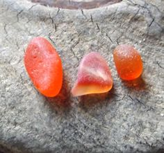 Three small pieces of coveted orange sea glass by OceanWanderer, $15.00