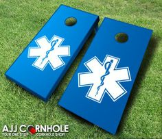 This top of the line EMS Cornhole Set is sure to bring life to any party! Support our first responders! www.ajjcornhole.com