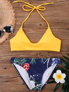 Halter Neck Hawaiian Bikini Set-free shipping. Bathing Suits For Teens, Summer Bathing Suits, Swimsuits For Teens, Cute Bathing Suits, Cute Swimsuits, Cute Bikinis, Trendy Bikinis, Diy Summer Clothes, Summer Outfits For Teens
