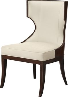 A scalloped profile and handsome quarter cut mahogany back are less French than the language of style. In a nod to Baker's capability, Garcia wood-wraps the back and part of the sides, framing the interior fabric.