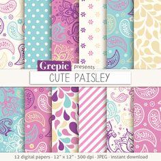 """Papel digital de Paisley: """"Lindo PAISLEY"""" en el patrón de color de rosa, turquesa, púrpura, paisley, de fondo, dulce, rizado, remolinos, gotas, floral, femenino"""