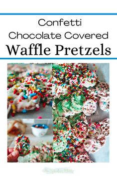 Chocolate finds a way to make everything better, like these white chocolate covered waffle pretzels! The addition of sprinkles give way for a festive and party-ready treat.