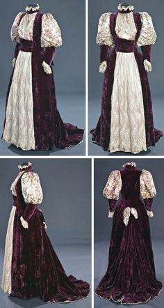 Tea gown, ca. 1895. Burgundy velvet, embroidered net, pink satin, & pink silk brocade with floral design in green, pink, & white. One piece, princess-style, with brocade panel gathered & inset in bodice front. Velvet band across waist front; pink satin panel w/embroidered net overlay in front of skirt. Front hook & eye closure on left side. Skirt has bow at back center, and is deeply box-pleated under bow. Train lined with pink silk twill edged w/pleated ruffle. Staten Island Historical…