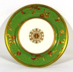 Minton Gilt Plate with Green Ground Border