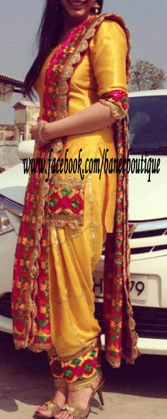 Typical punjaban look complete with the phulkari work Punjabi Fashion, Indian Bridal Fashion, Bollywood Fashion, Indian Suits, Indian Attire, Indian Wear, Indian Dresses, Phulkari Suit, Patiala Suit