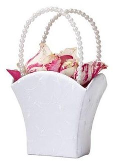 Lillian Rose FB400 W Plain Satin Flower Basket-White