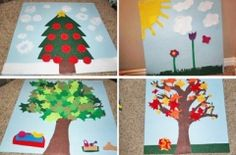 i love felt board ideas. this is a diy change of seasons board. could alter this idea to teach about the weather by creating a felt board version of the 5 day weather report.