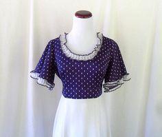 Mod Ruffled Flutter Sleeves 60s Dress. Vintage. Medium