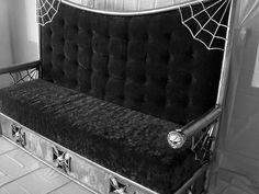 detailed gothic high back sofa black and silver